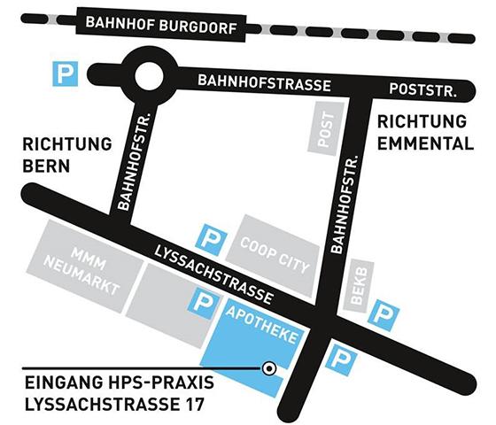 Anfahrtsskizze HPS-Praxis Burgdorf